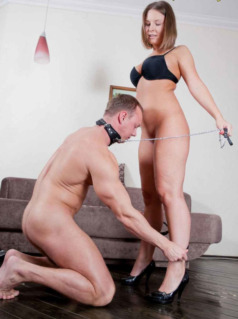 a submissive removing mistress panties