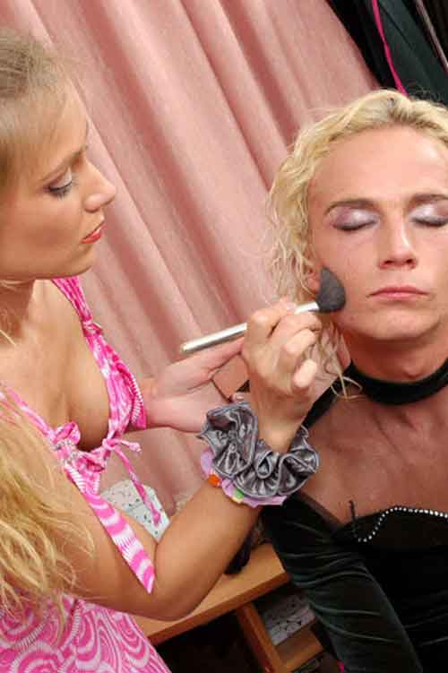 a mistress applying make up