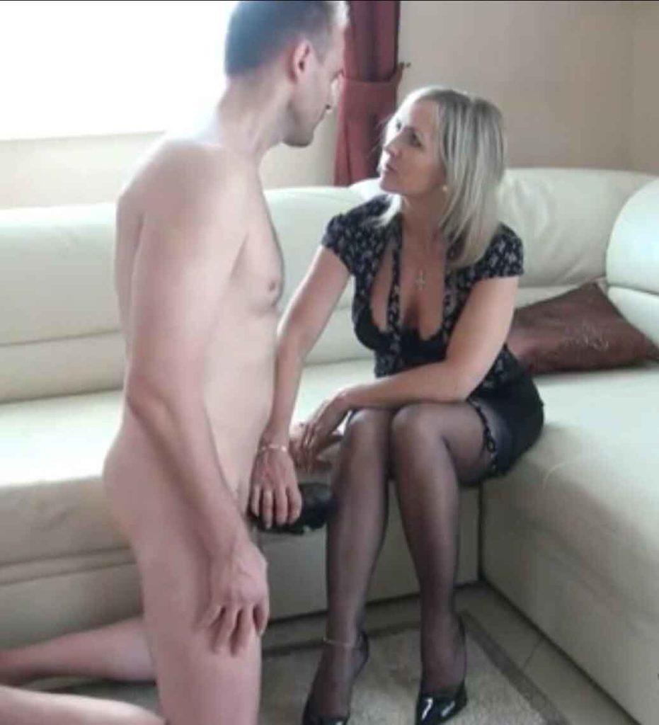 a mistress stroking a slave