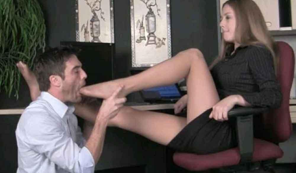 a brat school princess making a male lick toes
