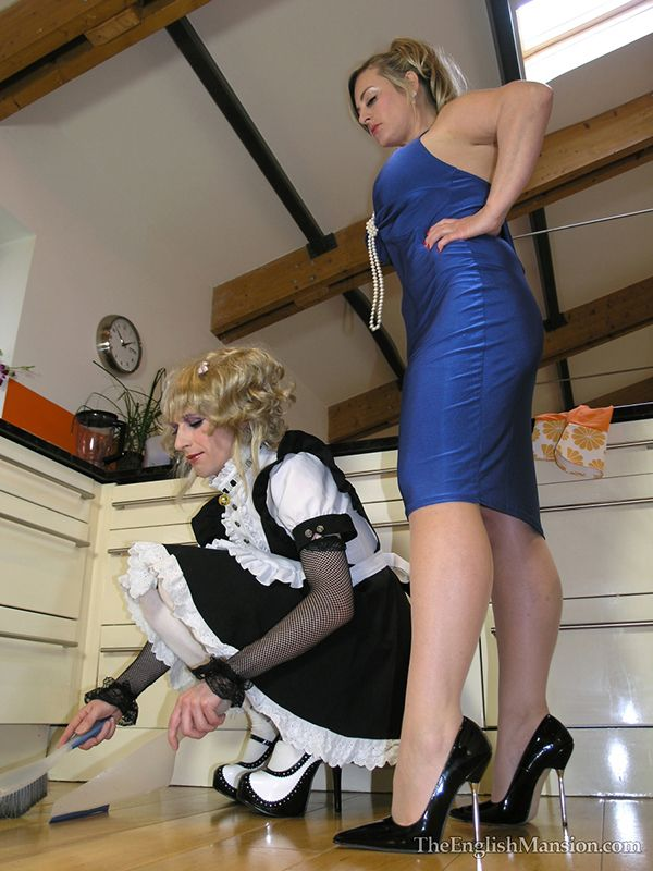a sissy maid doing chores