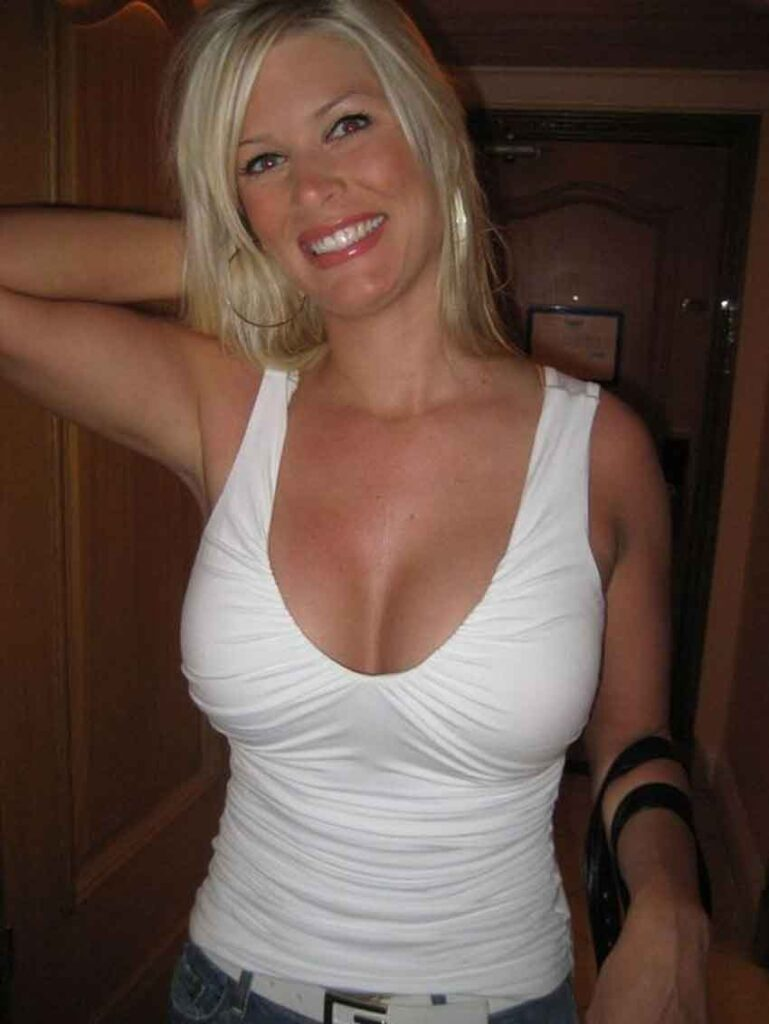 a mistress in white tight top