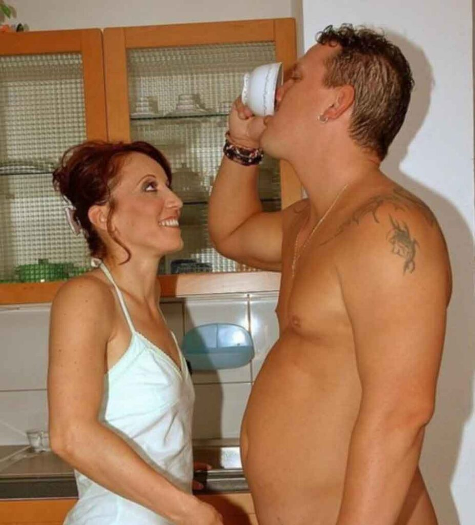 wife mistress watching husband drinking