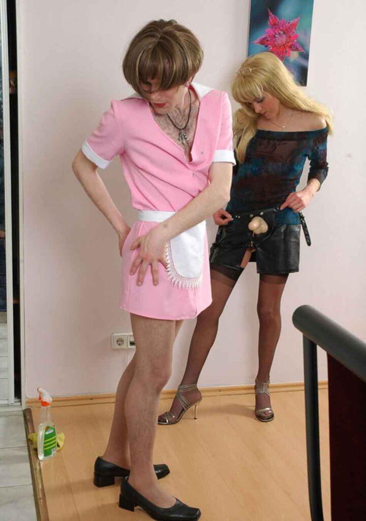 a mistress and sub, both a female attire