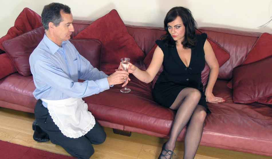 a mistress being presented with wine