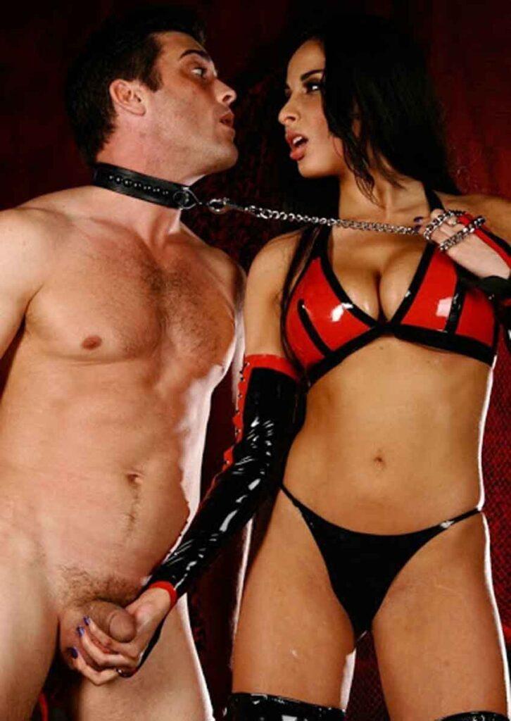 a mistress tugs at sub leash