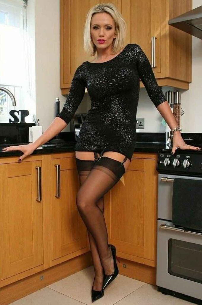 a sexy mistress in kitchen