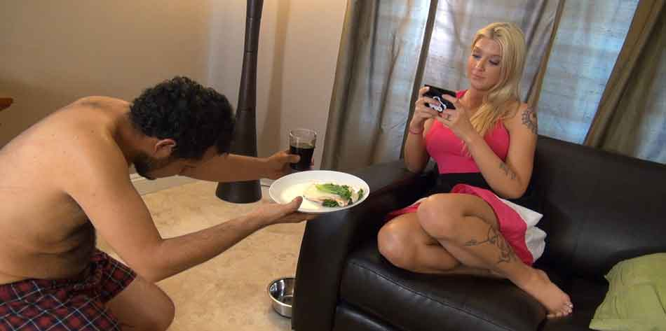 a sub presents a meal to mistress
