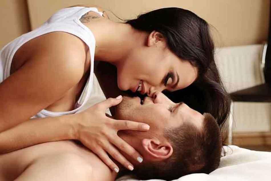 a female led realtionship kiss
