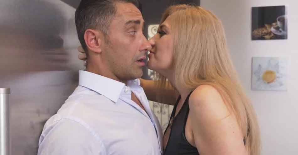 a mistress close up to kiss her submissive