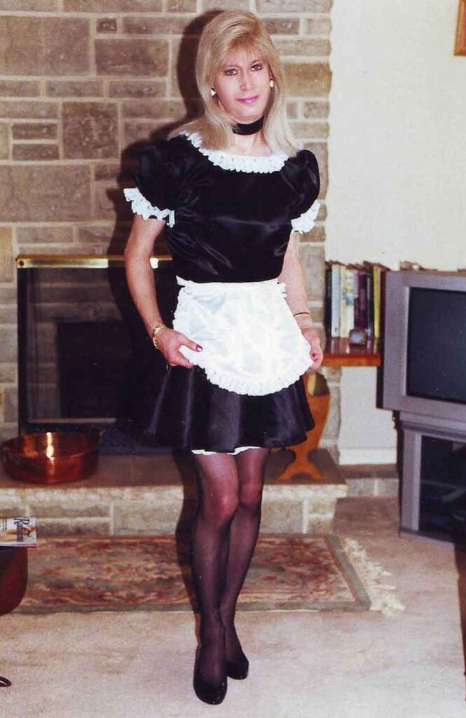 a sissy maid posing