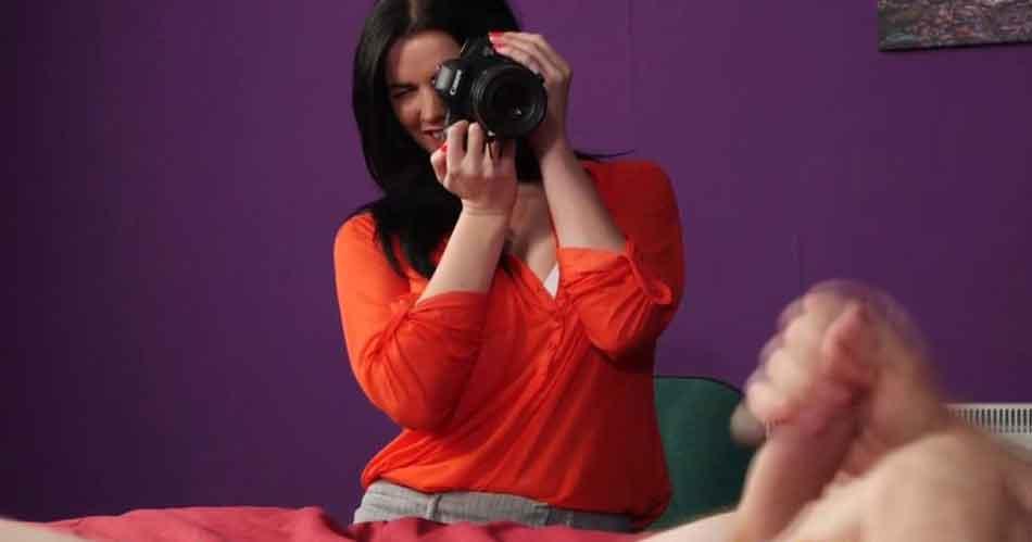 a mistress photographing a man jeking off