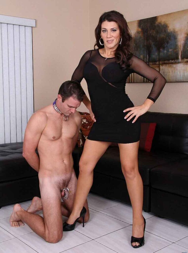 a mistress with a sub and collar