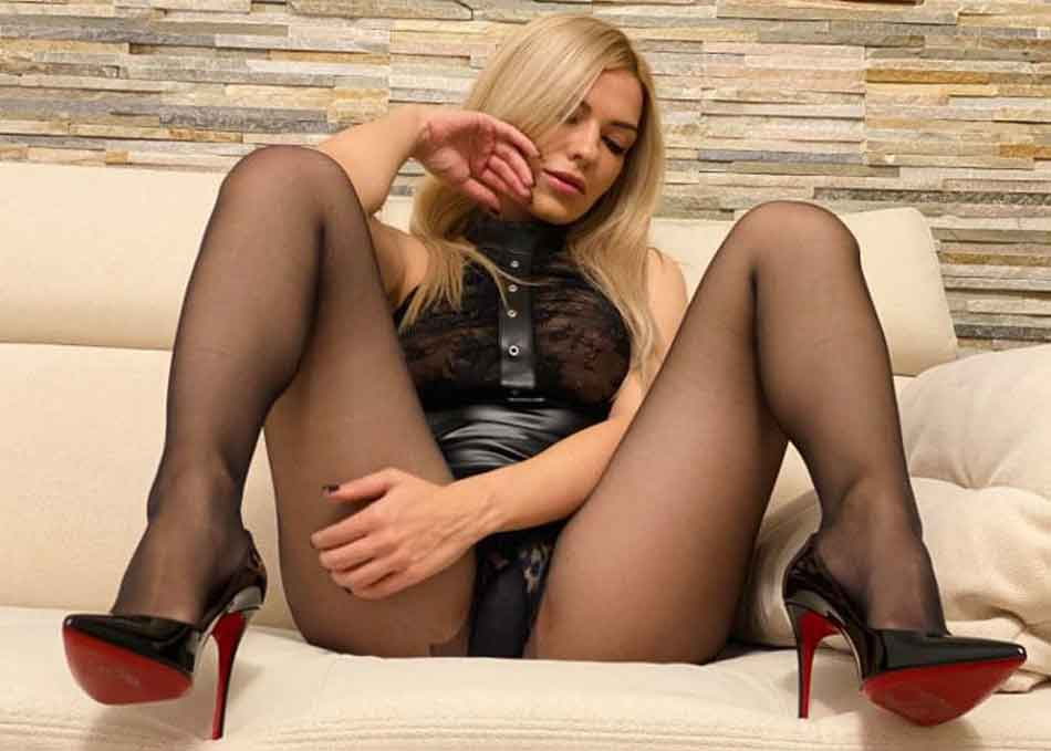 a sexy mistress on the couch